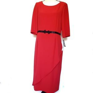 Julian Taylor Red Dress with Wrap Hem - 10 - NWT